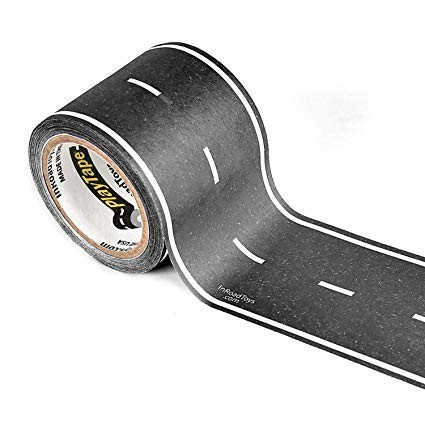 PlayTape Black Road - Road Car Tape Great for Kids, Sticker Roll for Cars and Train Sets, Stick to Floors and Walls, Quick Cleanup, Children Toys Birthday Gift (30'x2 - Single Roll, Black)