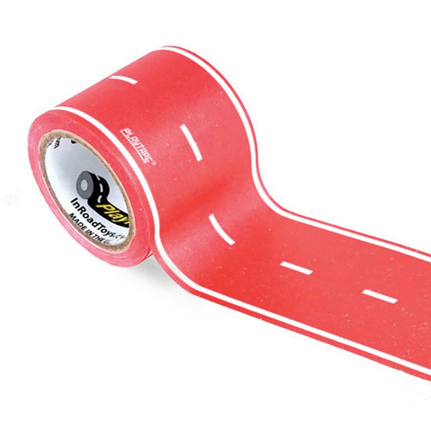 "PlayTape Red Road 30'x4"" - Road Car Tape Great for Kids, Sticker Roll for Cars and Train Sets, Stick to Floors and Walls, Quick Cleanup, Children Toys Birthday Gift (30x2, Red)"