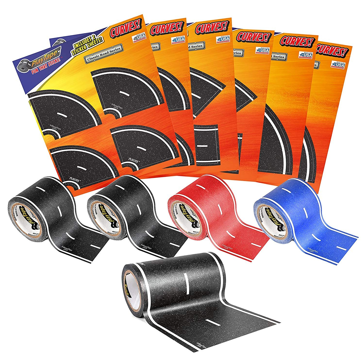 PlayTape Road Rally Road and Curve Assortment for 5-7 Kids - Road Car Tape Great for Kids, Sticker Roll for Cars and Train Sets, Stick to Floors and Walls, Quick Cleanup, Children Toys Birthday Gift