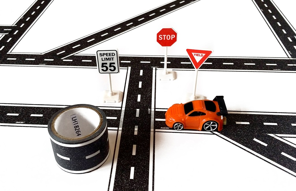 TinyTown Cars & Roads! Includes Road Tape, Tuner Car, & Road Signs