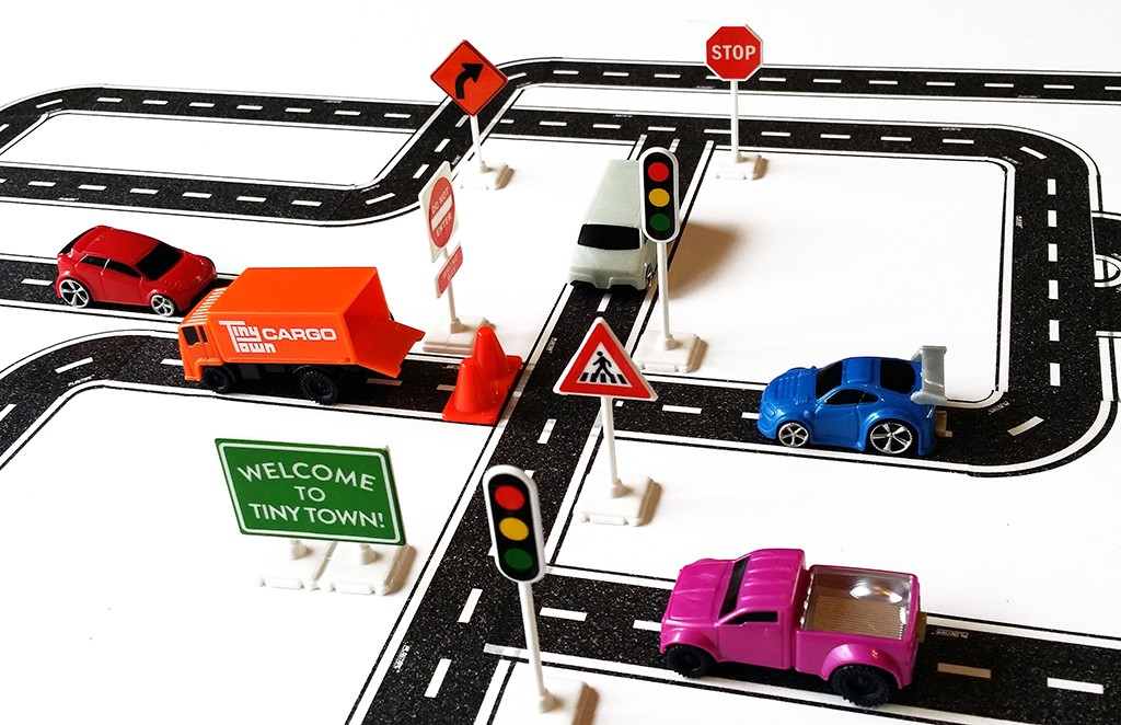Tiny Town Square! Includes Road Tape & Curves, 5 Vehicles, 2 Cones, & 7 Road Signs