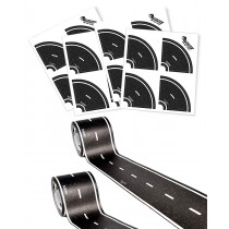 "PlayTape Classic Road Builder Set - 2 Rolls of 15'x2"" Black Road PLUS 2 Pack of Tight Curves - Instantly Create your Own Roads Anytime, Anywhere - Perfect For Parties & Gifts"