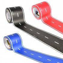 PlayTape Asphalt Road 3-Pack Bundle – 30' Black Roll, 30' Red Roll, 30' Blue Roll