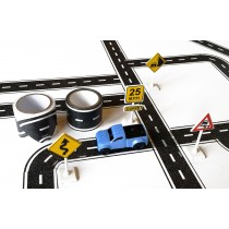 TinyTown Cars, Roads, & Curves! Includes Road Tape & Curves, 4x4 Truck, & Road Signs